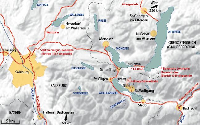 Bahnnetz im Raum Salzburg Stadt und im Salzkammergut in den 1940er Jahren