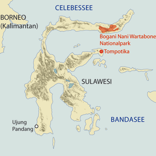 Location of the Bogani Nani Wartabone Nationalparks auf Sulawesi
